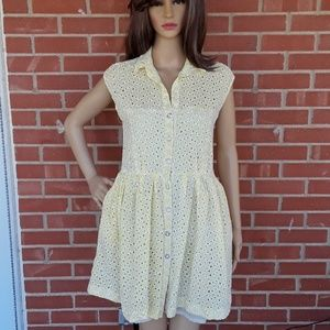 Betsey Johnson yellow eyelet lace dress size 8